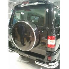Защита заднего бампера на УАЗ Патриот уголки двойные нержавеющая сталь